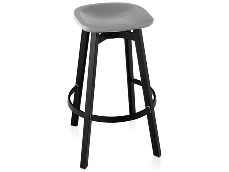 Emeco Outdoor Su By Nendo Aluminum Black Anodized Bar Stool with Flint Seat PatioLiving