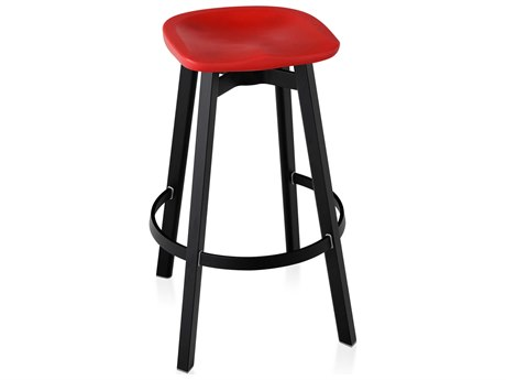 Emeco Outdoor Su By Nendo Aluminum Black Anodized Bar Stool with Red Seat PatioLiving