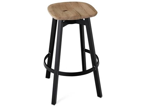 Emeco Outdoor Su By Nendo Aluminum Black Anodized Bar Stool with Oak Seat PatioLiving