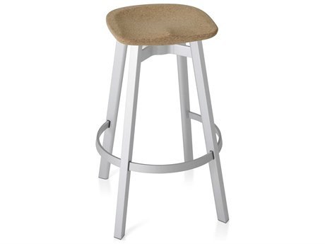 Emeco Outdoor Su By Nendo Aluminum Natural Anodized Bar Stool with Cork Seat PatioLiving