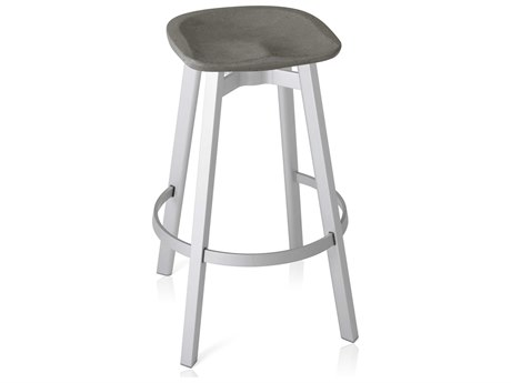 Emeco Outdoor Su By Nendo Aluminum Natural Anodized Bar Stool with Eco- Concrete Seat PatioLiving
