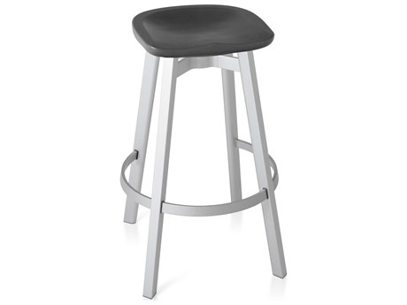 Emeco Outdoor Su By Nendo Aluminum Natural Anodized Bar Stool with Charcoal PatioLiving