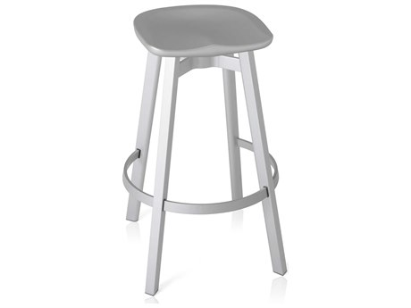 Emeco Outdoor Su By Nendo Aluminum Natural Anodized Bar Stool with Flint Seat PatioLiving
