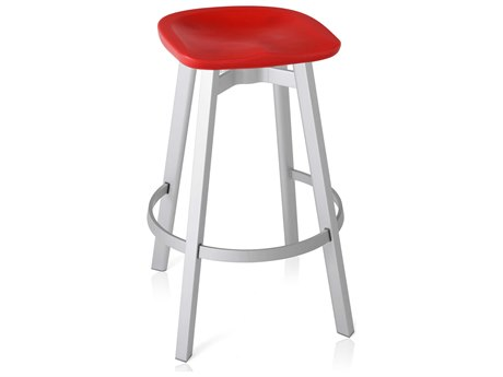 Emeco Outdoor Su By Nendo Aluminum Natural Anodized Bar Stool with Red Seat PatioLiving