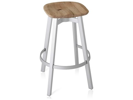 Emeco Outdoor Su By Nendo Aluminum Natural Anodized Bar Stool with Oak Seat PatioLiving