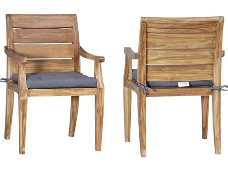 Elk Outdoor Teak Gray Fabric Chair Seat Replacement Cushions (Set of 2)