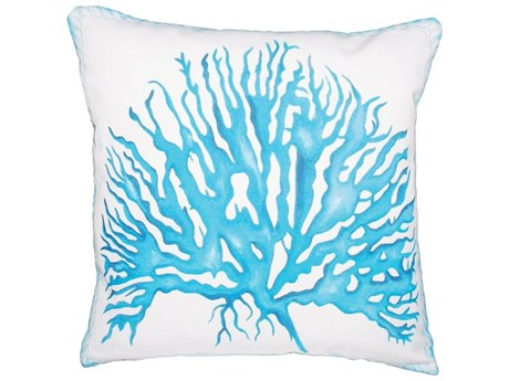 Elk Outdoor White Polyester / Hand-painted Aqua Coral Pillow