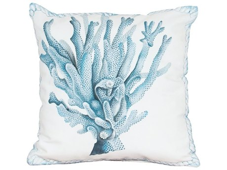 Elk Outdoor White Polyester / Hand-painted Blue Coral Pillow