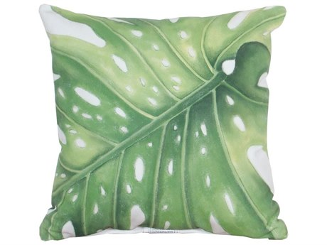 Elk Outdoor White Polyester / Hand-painted Green Leaf Pillow
