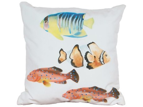 Elk Outdoor White Polyester / Hand-painted Fish In Salmon Blue Pillow