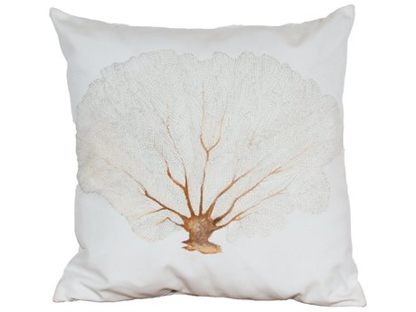 Elk Outdoor White Polyester / Hand-painted Light Pink Coral Brown Stem Pillow