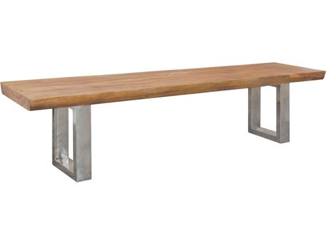 Elk Outdoor Teak Euro Oil Steel Bench PatioLiving