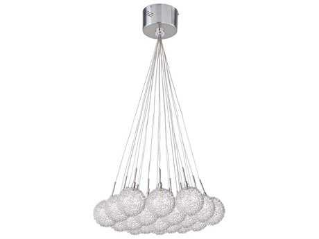 ET2 Starburst Satin Nickel & Polished Chrome 19-Light Pendant with Mesh Glass