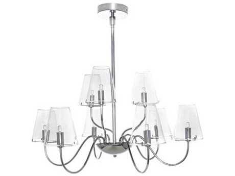 ET2 Chic Polished Chrome & Clear Glass Nine-Light 27'' Wide Chandelier
