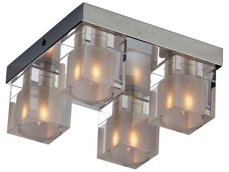 ET2 Blocs Polished Chrome & Clear-Frosted Glass Four-Light 8'' Wide Flush Mount Light