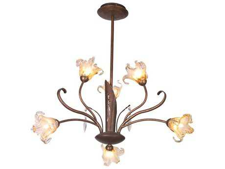 ET2 Bloom Antique Bronze & Amber Murano Glass Six-Light 22'' Wide Chandelier