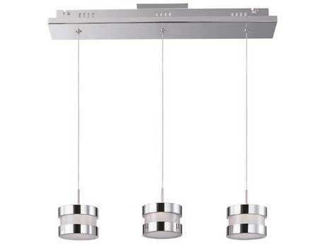 ET2 Disco Polished Chrome & White Glass Three-Light 21'' Long LED Island Light