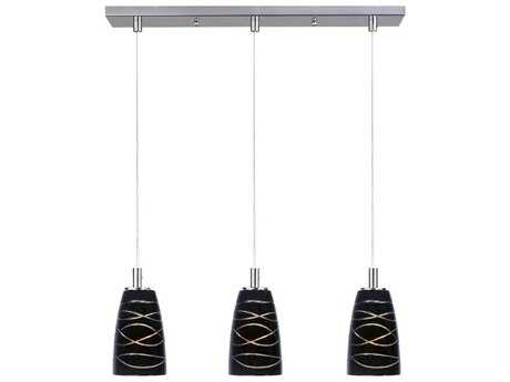 ET2 Carte Satin Nickel & Black Amber Swirl Glass Three-Light 24.5'' Wide Xenon Island Light