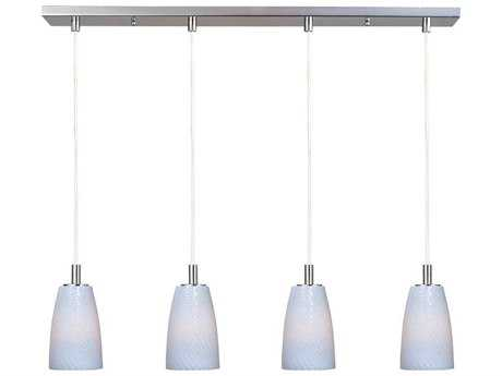 ET2 Carte Satin Nickel & White Ripple Glass Four-Light 33'' Wide Xenon Island Light