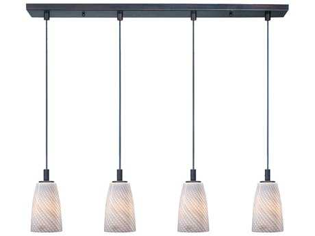 ET2 Carte Bronze & Grey Ripple Glass Four-Light 33'' Wide Xenon Island Light