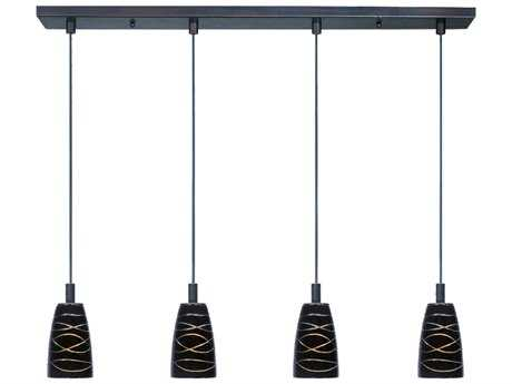 ET2 Carte Bronze & Black Amber Swirl Glass Four-Light 33'' Wide Xenon Island Light