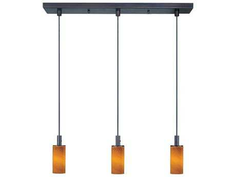 ET2 Carte Bronze & Amber Ripple Glass Three-Light 24.5'' Wide Xenon Island Light