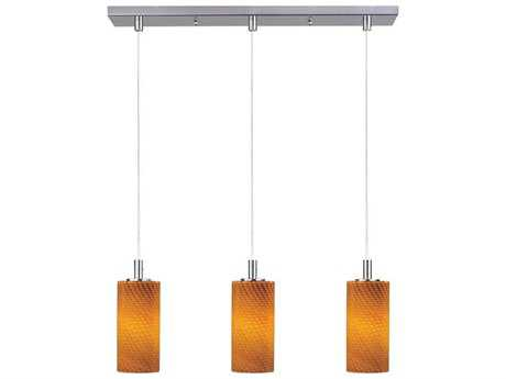 ET2 Carte Satin Nickel & Amber Ripple Glass Three-Light 24.5'' Wide Xenon Island Light