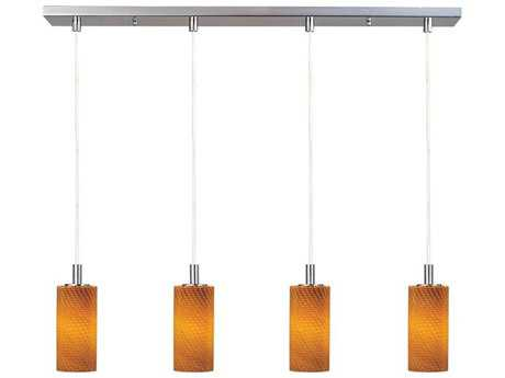 ET2 Carte Satin Nickel & Amber Ripple Glass Four-Light 33'' Wide Xenon Island Light