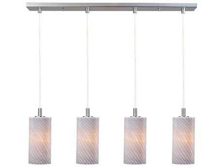 ET2 Carte Satin Nickel & Grey Ripple Four-Light 33'' Wide Xenon Island Light
