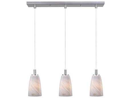 ET2 Carte Satin Nickel & Grey Ripple Three-Light Bulb 24.5'' Wide Fluorescent Island Light