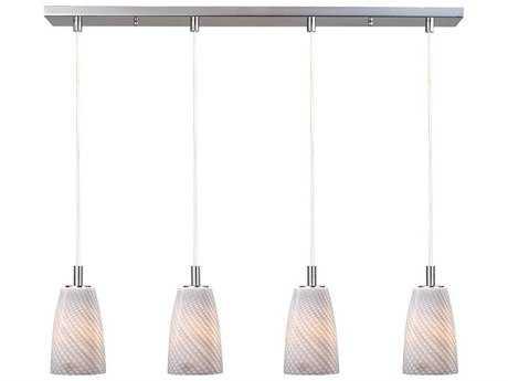 ET2 Carte Satin Nickel & Grey Ripple Four-Light Bulb 33'' Wide Fluorescent Island Light