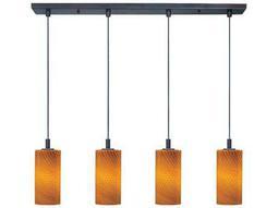 ET2 Carte Bronze & Amber Ripple Glass Four-Light 33'' Wide Fluorescent Bulb Island Light