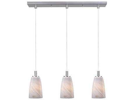 ET2 Carte Satin Nickel & Grey Ripple Glass Three-Light 23.5'' Wide LED Island Light