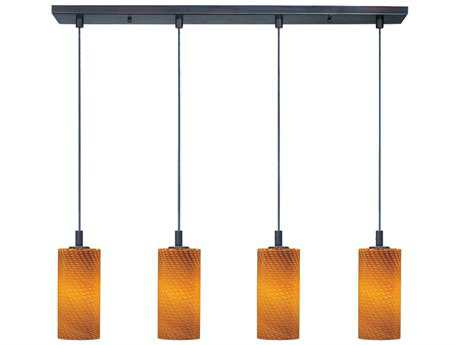 ET2 Carte Bronze & Amber Ripple Glass Four-Light 33'' Wide LED Island Light