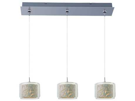 ET2 Confetti Polished Chrome & Clear-White Glass Three-Light 24'' Long Island Light