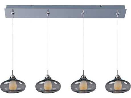 ET2 Graduating Polished Chrome & Smoke Glass Four-Light 34.5'' Long Island Light