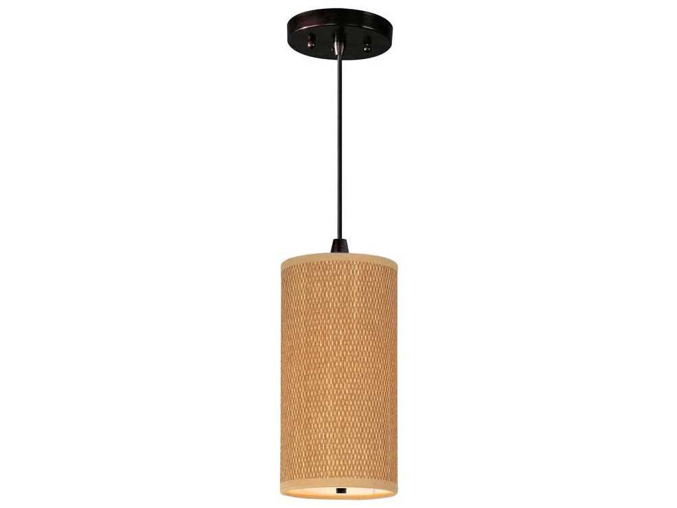 et2 elements oil rubbed bronze grass cloth 6 39 39 wide incandescent pendant light with cord. Black Bedroom Furniture Sets. Home Design Ideas