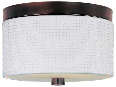 ET2 Elements Oil Rubbed Bronze & White Weave Two-Light 10'' Wide Fluorescent Flush Mount Light