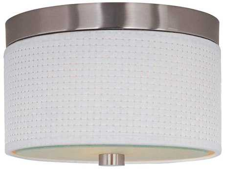 ET2 Elements Satin Nickel & White Weave Two-Light 10'' Wide Fluorescent Flush Mount Light