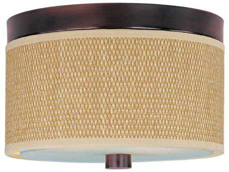 ET2 Elements Oil Rubbed Bronze & Grass Cloth Two-Light 10'' Wide Fluorescent Flush Mount Light