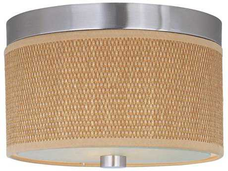 ET2 Elements Satin Nickel & Grass Cloth Two-Light 10'' Wide Fluorescent Flush Mount Light