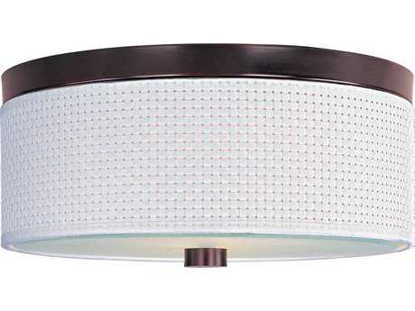 ET2 Elements Oil Rubbed Bronze & White Weave Three-Light 14'' Wide Fluorescent Flush Mount Light