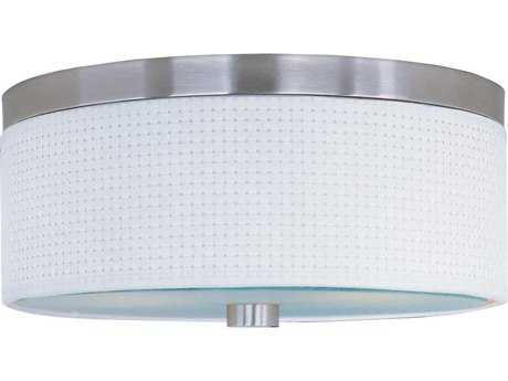 ET2 Elements Satin Nickel & White Weave Three-Light 14'' Wide Fluorescent Flush Mount Light