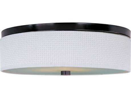 ET2 Elements Oil Rubbed Bronze & White Weave Three-Light 20'' Wide Fluorescent Flush Mount Light