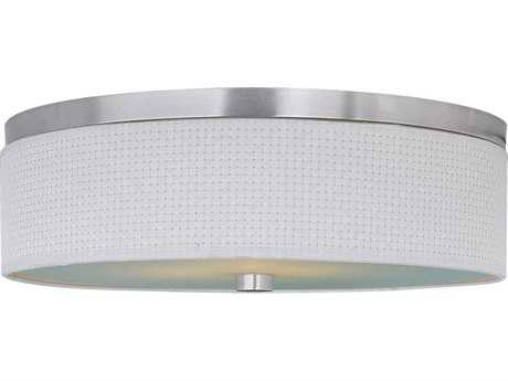 ET2 Elements Satin Nickel & White Weave Three-Light 20'' Wide Fluorescent Flush Mount Light