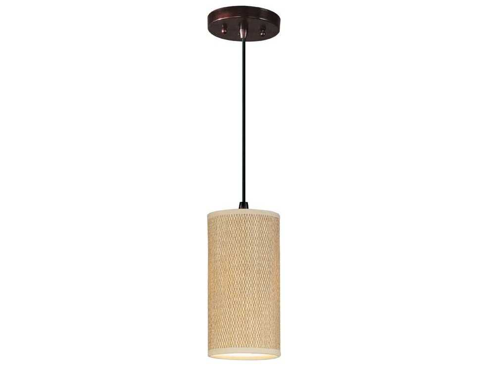 et2 elements oil rubbed bronze grass cloth 5 39 39 wide fluorescent mini pendant light with cord. Black Bedroom Furniture Sets. Home Design Ideas
