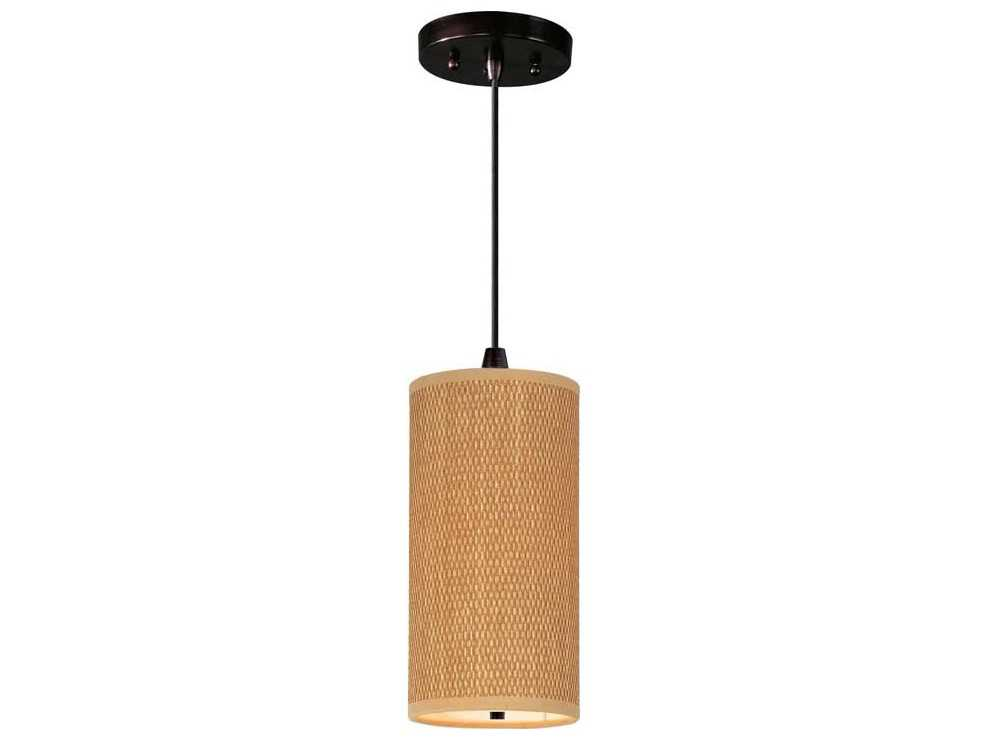 et2 elements oil rubbed bronze grass cloth 6 39 39 wide fluorescent pendant light with cord. Black Bedroom Furniture Sets. Home Design Ideas