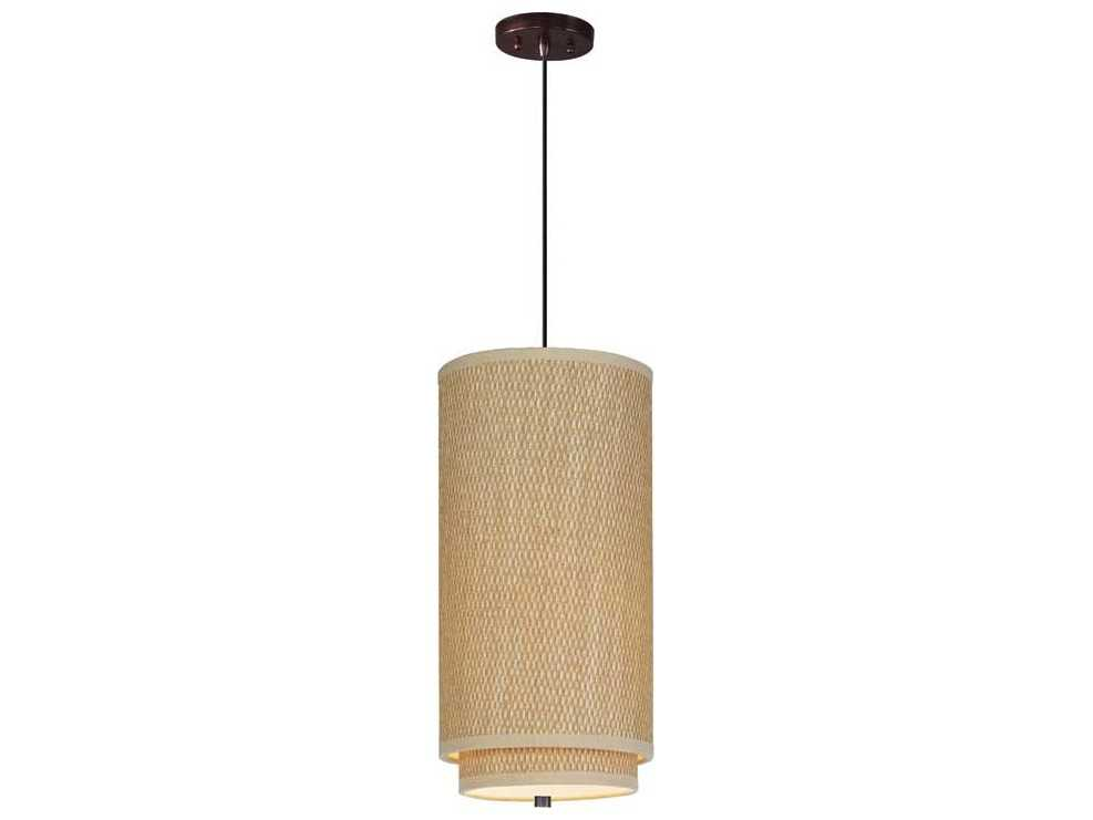 et2 elements oil rubbed bronze grass cloth 10 39 39 wide fluorescent pendant light with cord. Black Bedroom Furniture Sets. Home Design Ideas