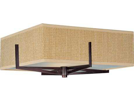 ET2 Elements Oil Rubbed Bronze & Grass Cloth Three-Light 16'' Wide Fluorescent Flush Mount Light