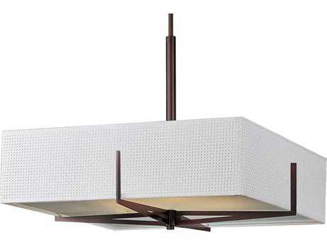 ET2 Elements Oil Rubbed Bronze & White Weave Four-Light 26'' Wide Fluorescent Pendant Light